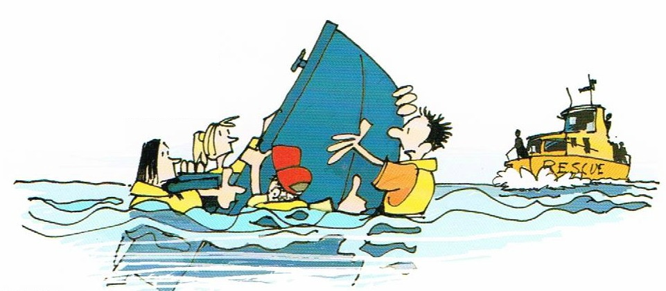 Basic Flotation Cartoon of family being rescued of sinking boat