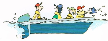 Level Flotation Cartoon of family bucketing water out of sinking boat