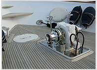 Close up of boat engine
